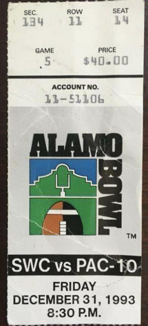 1993 Alamo Bowl ticket stub UC Berkeley vs Iowa