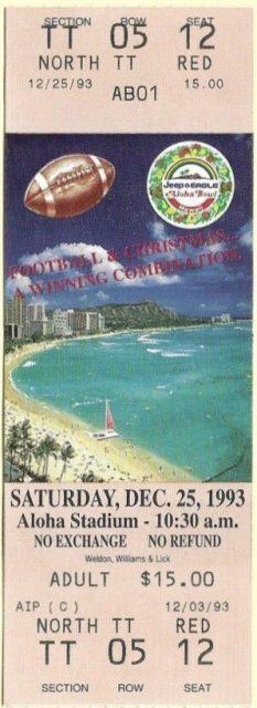 1993 Aloha Bowl ticket stub Colorado vs Fresno State