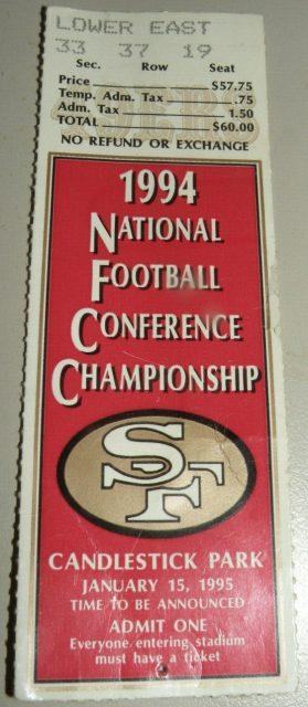 1994 NFC Championship Game ticket stub 49ers vs Dallas