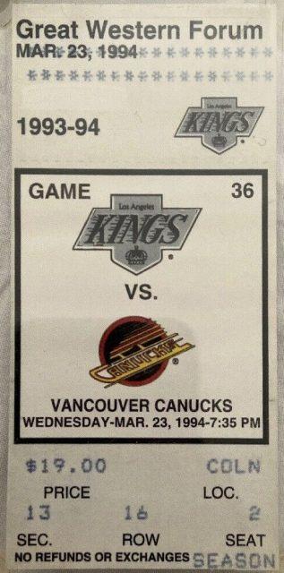 1994 Wayne Gretzky 802 Goal ticket stub