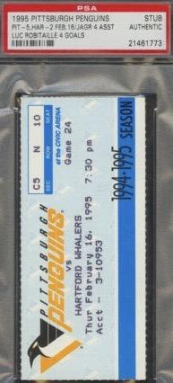 1995 Penguins Ticket Stub vs Whalers