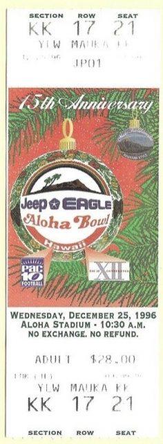 1996 Aloha Bowl ticket stub Navy vs UC Berkeley