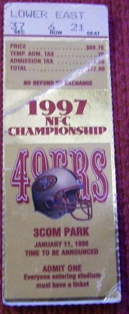 1998 NFC Championship Game ticket stub 49ers vs Packers