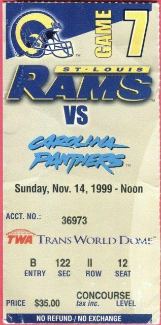 1999 St. Louis Rams ticket stub vs Panthers
