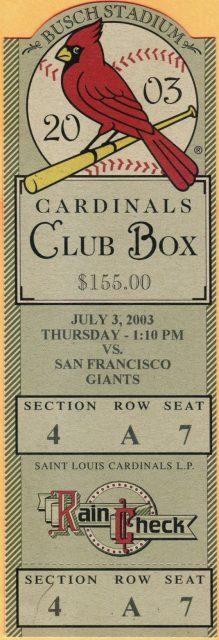 2003 St. Louis Cardinals ticket stub vs Giants
