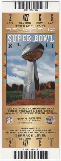 2008 Super Bowl ticket Giants vs Patriots