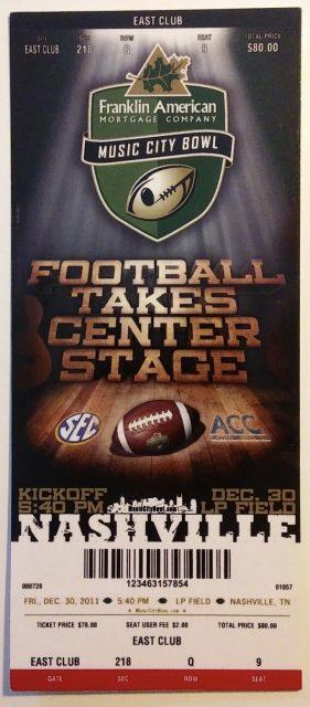 2011 Music City Bowl Ticket Stub Mississippi State vs Wake Forest