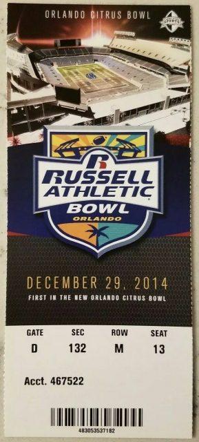2014 Russell Athletic Bowl ticket stub Clemson vs Oklahoma