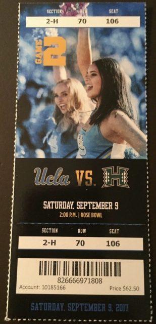 2017 NCAAF UCLA Bruins ticket stub vs Hawaii