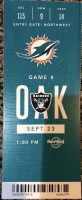 2018 Miami Dolphins ticket stub vs Raiders