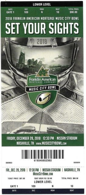 2018 Music City Bowl ticket stub Purdue vs Auburn