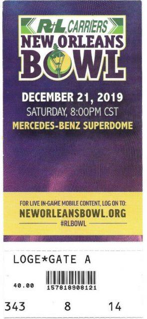 2019 New Orleans Bowl ticket stub Appalachian State UAB