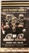 2020 NFC Wild Card Game ticket stub New Orleans Saints vs Vikings