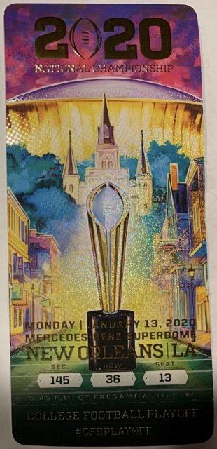 2020 National Championship Ticket Stub LSU vs Clemson