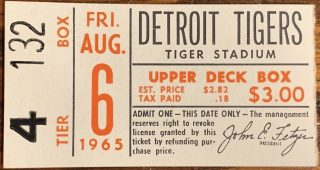 1965 Mickey Mantle Home Run Ticket Stub HR 468