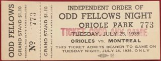 1939 Baltimore Orioles ticket stub vs Montreal Royals