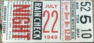 1949 White Sox ticket stub vs Phillies No Gambling Allowed