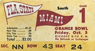 1951 NCAAF Miami ticket stub vs Florida State 1st Game