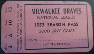 1953 Milwaukee Braves National League Season Pass