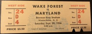 1956 NCAAF Wake Forest Ticket Stub vs Maryland