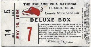 1956 Philadelphia Phillies ticket stub vs Milwaukee Braves