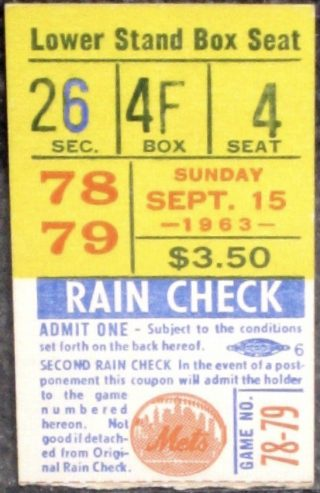 1963 New York Mets ticket stub vs Colt 45s