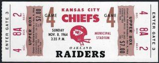 1964 AFL Kansas City Chiefs unused ticket vs Raiders