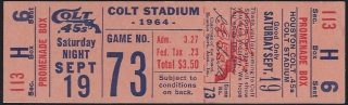 1964 Houston Colt 45s ticket vs Mets