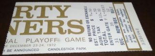 1972 NFC Divisional Game ticket stub 49ers Cowboys