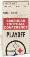 1972 AFC Divisional Game ticket stub Steelers Raiders