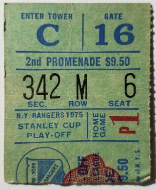 1975 Stanley Cup Playoff Game 1 ticket stub Rangers Islanders