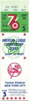 1976 ALCS Game 5 ticket stub Yankees vs Royals