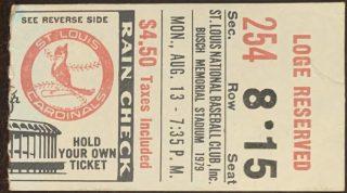1979 Lou Brock 3000 Hit ticket stub St Louis Cardinals