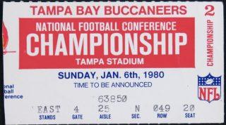 1980 NFC Championship Game ticket stub Buccaneers Rams