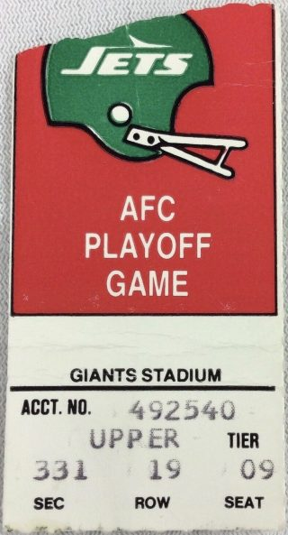 1985 AFC Wild Card Game ticket stub New York Jets vs Patriots