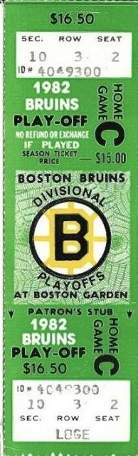 1982 NHL Playoffs Bruins ticket stub vs Nordiques