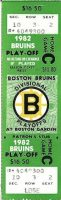 1982 NHL Playoffs Bruins ticket stub vs Nordiques