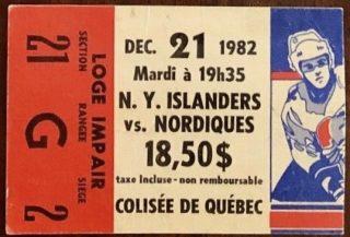 1982 Quebec Nordiques ticket stub vs Islanders