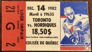 1982 Quebec Nordiques ticket stub vs Maple Leafs