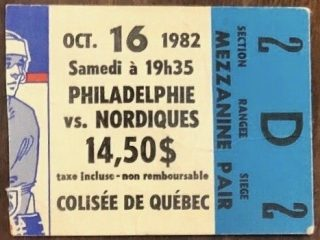 1982 Quebec Nordiques ticket stubs vs Flyers