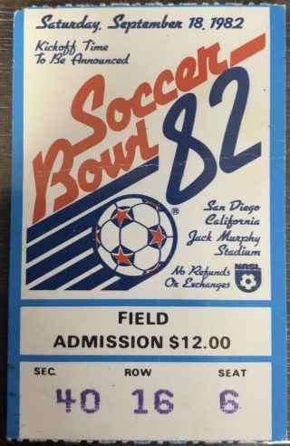 1982 Soccer Bowl 82 Ticket Stub New York Cosmos vs Seattle Sounders 11.50