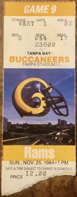 1984 Tampa Bay Buccaneers ticket stub vs Los Angeles Rams