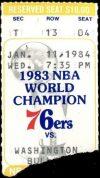1984 Philadelphia 76ers ticket stub vs Bullets