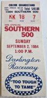 1984 Southern 500 Ticket Stub Harry Gant