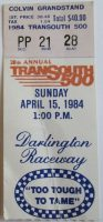 1984 Transouth 500 ticket stub Darlington