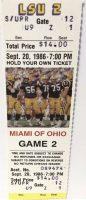 1986 NCAAF LSU Tigers unused ticket vs Miami Ohio