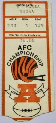 1989 AFC Championship Game Bengals ticket stub vs Bills