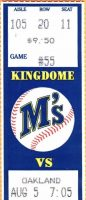 1989 Seattle Mariners ticket stub Dave Parker 300th HR