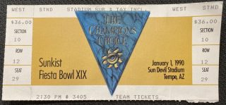 1990 Fiesta Bowl ticket stub Nebraska vs Florida State