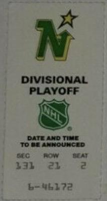 1991 Minnesota North Stars Playoffs ticket stub vs Oilers
